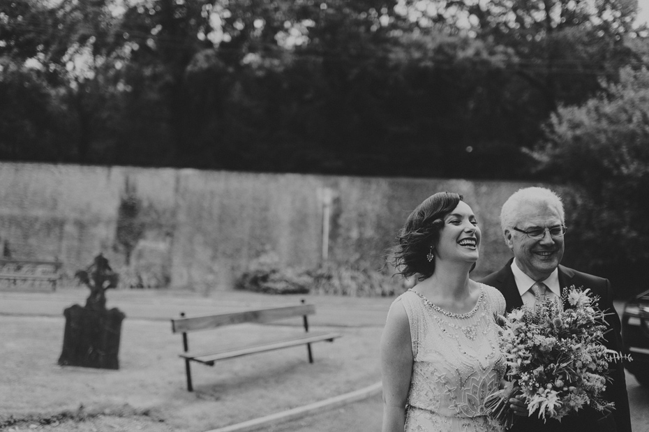 Bride and Father Laughing